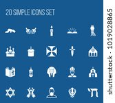 set of 20 editable faith icons. ... | Shutterstock .eps vector #1019028865