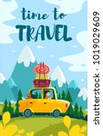 travel time cartoon road | Shutterstock . vector #1019029609