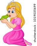 cartoon princess kissing a... | Shutterstock .eps vector #1019035699