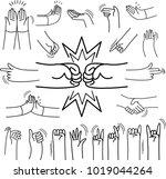 set of  doodle on paper... | Shutterstock .eps vector #1019044264