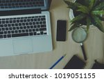 top view of a laptop with a... | Shutterstock . vector #1019051155