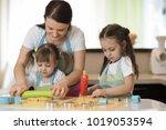 cute children girls and their... | Shutterstock . vector #1019053594
