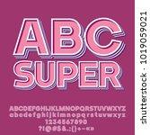vector set of super modern abc... | Shutterstock .eps vector #1019059021