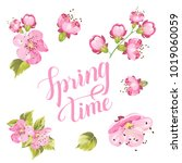 springtime card with purple... | Shutterstock .eps vector #1019060059