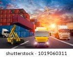 logistics and transportation of ... | Shutterstock . vector #1019060311