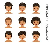 tanned skin man with different... | Shutterstock .eps vector #1019061361