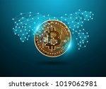bitcoin digital currency...   Shutterstock .eps vector #1019062981