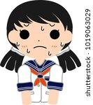 girl's japanese student sailor... | Shutterstock .eps vector #1019063029