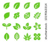 leaf icon set | Shutterstock .eps vector #1019063314