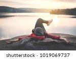relaxing moment asian tourist...   Shutterstock . vector #1019069737