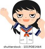 girl's japanese student sailor... | Shutterstock .eps vector #1019081464