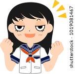 girl's japanese student sailor... | Shutterstock .eps vector #1019081467