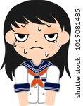 girl's japanese student sailor... | Shutterstock .eps vector #1019081485