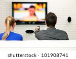 couple watching tv | Shutterstock . vector #101908741