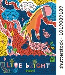 live brightly postcard with
