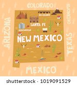 illustrated map of the state of ... | Shutterstock .eps vector #1019091529