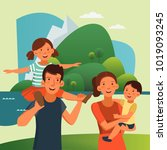 happy family having fun.... | Shutterstock .eps vector #1019093245