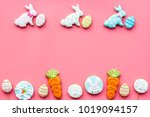 easter bunny and easter eggs... | Shutterstock . vector #1019094157