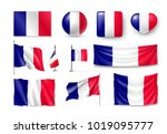 set france flags  banners ... | Shutterstock .eps vector #1019095777