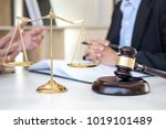 having meeting with team at law ... | Shutterstock . vector #1019101489