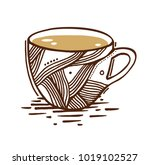 coffee cup on white background. ...   Shutterstock .eps vector #1019102527