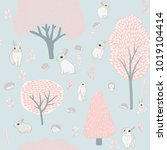 spring forest and hares.... | Shutterstock .eps vector #1019104414