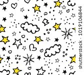 Stock vector vector seamless pattern backdrop for boys girls textiles wrapping paper summer spring mood stars 1019106844