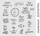 love lettering set. calligraphy ... | Shutterstock .eps vector #1019107441