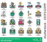 map  navigation  route icons.... | Shutterstock .eps vector #1019112499