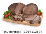 sliced deli roast beef on...   Shutterstock . vector #1019112574