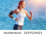 young beautiful woman jogging... | Shutterstock . vector #1019124421