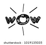 wow inscription. hand drawn... | Shutterstock .eps vector #1019135035