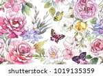 Stock photo beautiful watercolor pattern with peony and rose flowers butterflies and green leaves 1019135359
