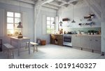 vintage style kitchen interior. ... | Shutterstock . vector #1019140327