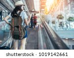 asian teenage girl is using a...   Shutterstock . vector #1019142661