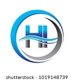 initial letter logo hi company... | Shutterstock .eps vector #1019148739
