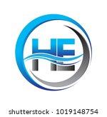 initial letter logo he company... | Shutterstock .eps vector #1019148754