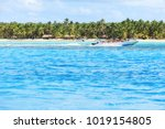 speedboat with tourists on... | Shutterstock . vector #1019154805