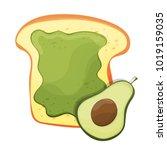 avocado toast. fresh toasted...   Shutterstock .eps vector #1019159035