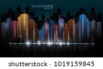 abstract futuristic city vector ... | Shutterstock .eps vector #1019159845