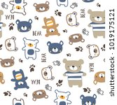 seamless pattern with teddy... | Shutterstock .eps vector #1019175121