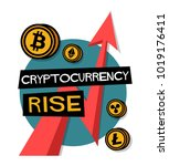 cryptocurrency rise poster with ... | Shutterstock .eps vector #1019176411