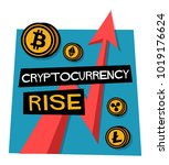 cryptocurrency rise poster with ... | Shutterstock .eps vector #1019176624