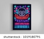 rock festival poster in neon... | Shutterstock .eps vector #1019180791