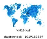 watercolor style of world map . ... | Shutterstock .eps vector #1019183869