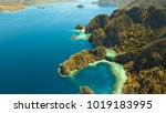 tropical lagoon with azure...   Shutterstock . vector #1019183995