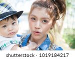 the asian baby with the mom in... | Shutterstock . vector #1019184217