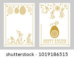 happy easter cards set with... | Shutterstock .eps vector #1019186515