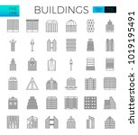 building in the city icons set... | Shutterstock .eps vector #1019195491