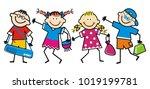 happy school children  kids... | Shutterstock .eps vector #1019199781